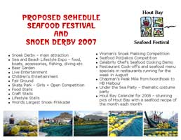 Proposed Schedule Seafood Festival & Snoek Derby 2007